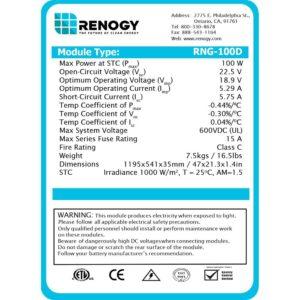 renogy solar panel name plate